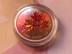 Kanada ezüst 5 dollár,festett Ritka 31,1 gramm 0,999