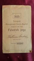 ÖNSEGÉLYEZŐ HAJÓS EGYLET / SZEGED / FELVÉTELI JEGY 1922 SZÉP BÉLYEGZŐVEL SORSZÁMOZOTT
