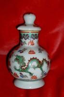Kínai sárkány motívummal illatszeres flakon opál üveg