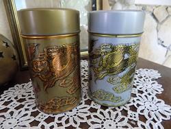 Két darab sárkányos fém doboz