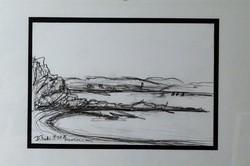 Keretezett vízparti, grafika, rajz, eredeti