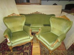 Barokk szalon 3-as kanapé+ 2 db fotel