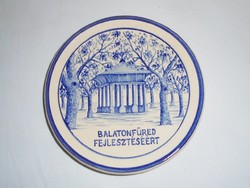 Pázmány József kerámia fali tányér - Balatonfüred Fejlesztéséért - 1960-1970-es évekből