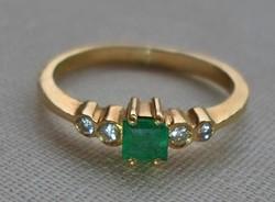 Nagyon szép antik smaragd brill 18kt aranygyűrű
