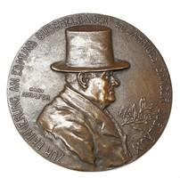 Edmund Guschelbauer jubileumi szecessziós bronz plakett 1903.