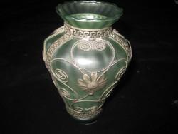 Művészi, ólom   fonatos zöld üveg  váza 85 x130  mm