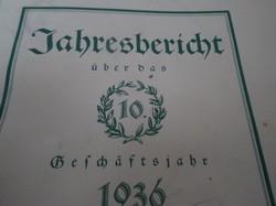 1936. évi üzleti elszámolás a GRAZI  RAIFFEISEN szövetség - egylet munkájáról.