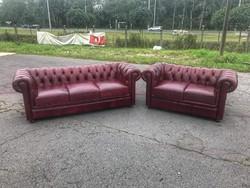 Chesterfield antik burgundi színű 3-2 bőr ülőgarnitúra