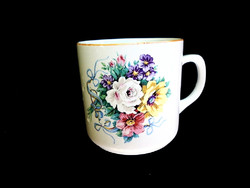 Zsolnay antik tavaszi virágos csésze