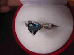 Kuriózum! Londoni kék topáz gyűrű ezüst - egyedi szívcsiszolás