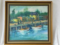 Kikötőt ábrázoló festmény