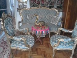 Arany antik szalongarnitura barokk anyaggal