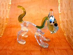 Gyönyörű és hibátlan Muránói üveg kutya, kutyus figura