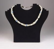 0S299 Régi fehér bizsu gyöngysor nyaklánc