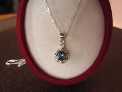 Kuriózum! Londoni kék topáz ezüst függő medál és nyaklánc hozzá