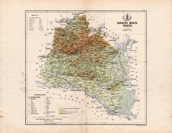 Baranya megye térkép 1885, Magyarország, vármegye, atlasz, eredeti, Kogutowicz Manó, 43 x 56 cm
