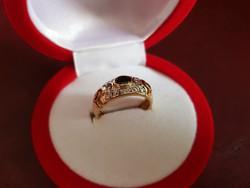 14K arany gyűrű ónix és cirkónia kövekkel - gyönyörű!