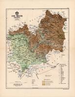 Ung megye térkép 1888, Magyarország, vármegye, atlasz, eredeti, Kogutowicz Manó, 43 x 56 cm