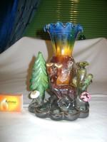 Retro mázas cserép váza figurákkal