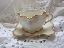 Szögletes Sarreguemines fajansz teáscsésze