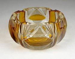 0S387 Régi vastagfalú csiszoltüveg hamutál