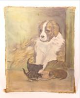 Kutya és cicák olaj vászon festmény 25 x 30 cm