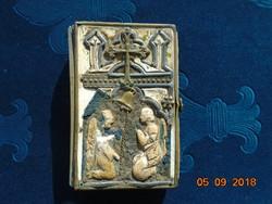Különleges rátétes réz és csont díszítéssel csatos antik imakönyv Munkay János(1820-1890 ,Winterberg