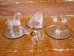 Nagyon szép üveg figurák aranyozott festéssel tükör talpon: galambok, hal, paci / ló, elefánt