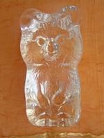 Gyönyörű és hibátlan Olimpiai Misa Maci üvegből 9 cm magas