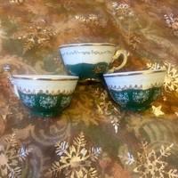 3 db antik Zsolnay Pompadour kávés csésze I. osztályú