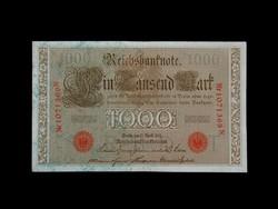 1000 NÉMET MÁRKA - GYÖNYÖRŰ - PIROS PECSÉTEKKEL 1910