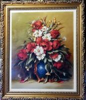 P. Molnár J. - álomszép olajfestménye, virágcsendélet ( 53 x 45 )