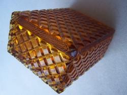 Borostyánszínű fedeles üvegdoboz (kártyadoboz)