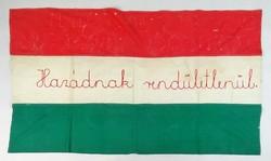 0S529 Régi hímzett vászon magyar zászló 73 x 129cm