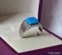 Gyönyörű ezüst pecsétgyűrű valódi türkizzel - 20,6 mm