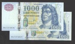 """1000 forint 2011. """"DA"""". 2 db sorszám követő!!  UNC!!"""