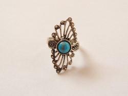 Valódi türkiz díszítésű antikolt ötvös ezüst gyűrű
