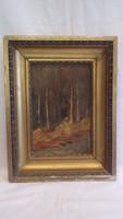 Asszony az erdő szélén olaj-fa régi festmény