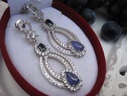 Hatalmas ezüst fülbevaló, london topáz és kaboson csiszolású tanzanit kövekkel 15 gramm