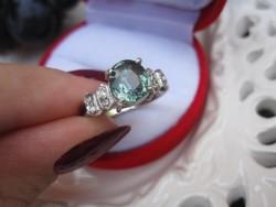 Egyedi drágakő-klasszikus foglalat! Valódi, zöld turmalin ezüst gyűrű