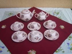 Antik Zsolnay rózsaszínű teás készlet
