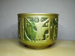 Zsolnay eozin art deco áttört porcelán kaspó Kovács István tervezése 1967 hibátlan állapotban!