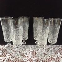 6 db-os gyönyörű kristály talpas pohár