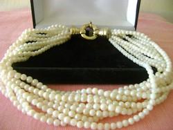 Eredeti japán AKOYA 10 soros AAA minőségű női nyakék 22 karátos ezüst aranyozott kapocs