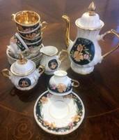 Porcelán teás/kávés szett hibátlan állapotban,dúsan aranyozott