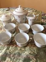 Antik Zsolnay manófüles teás készlet az 1940-es évekből, 5 tornyos márkajelzésű