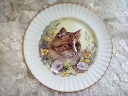 Angol porcelán kétféle cicás tányér, tál