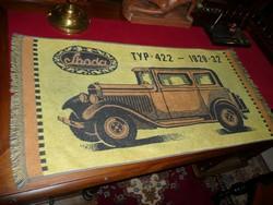 Veterán autósok! Antik SKODA törölköző az 1930-as évekből