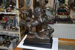 Bronzírozott spiáter lovas figura