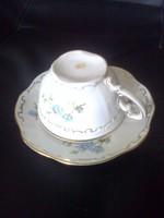 Zsolnay : Teás csésze + kistányérja, kék barackvirágos
